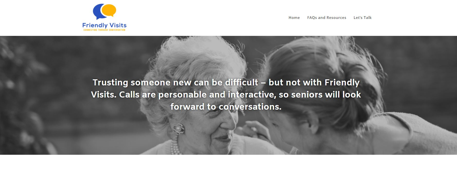 homepage pic for Friendly Visits website